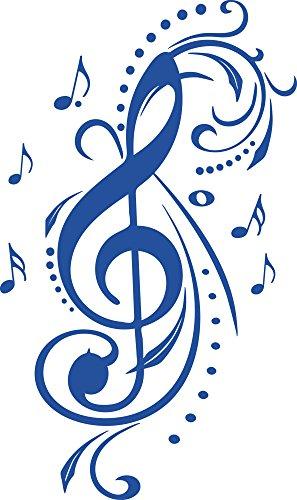 GRAZDesign Wandaufkleber Wohnzimmer Flur Violinschlüssel Mit Ornamenten - Deko Aufkleber Notenschlüssel Noten - Wandtattoo Musik Studio Deko / 96x57cm / 052 azurblau