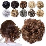 TESS Haarteil Dutt Hellbruan Haargummi mit Haaren Gewellt Dicke Haarknoten Hochsteckfrisuren günstig Haarverlängerung Extensions für Frauen 40g