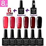 KANORINE 8pcs Nail Gel polish red series Set