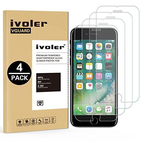 iVoler [4 Pack] Pellicola Vetro Temperato per iPhone 8/7 / 6s / 6 [Garanzia a Vita], Pellicola Protettiva Protezione per Schermo per iPhone 8/7 / 6s / 6 - Transparente