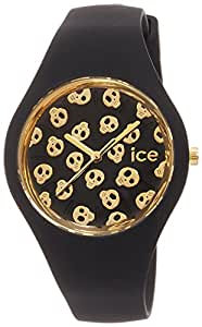 ICE-Watch - ICE.SK.BGD.S.S.15 - Ice Skull - Black Gold - Small - Montre Femme - Quartz Analogique - Cadran Noir - Bracelet Silicone Noir