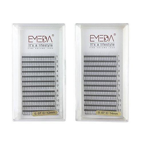 EMEDA 3D W Volume Cluster Wimpernverlängerung Falsche Wimpern Individuelle Wimpern 0,07 C Curl 12 14MM 2 Tray Einzelne Wimpern -