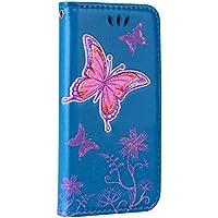 Gelusuk iPhone 7 Hülle,iPhone 8 Lederhülle,Slim Bling Schmetterling PU Leder Bookstyle Flip Tasche Wallet Case mit Kartenfächer Standfunktion Handyhülle Schutzhüllen Back Cover Schale-Blau