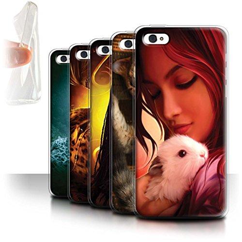 Officiel Elena Dudina Coque / Etui Gel TPU pour Apple iPhone 5C / Loups Blancs Design / Les Animaux Collection Pack 16pcs