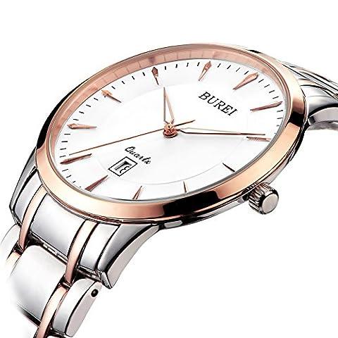 BUREI Women's Simple Elegant Quartz Watch with Rose Gold Date