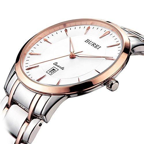 BUREI Elegante Frauen Uhr im Slimdesign in Rose Gold und Saphirglas mit Edelstahlarmband
