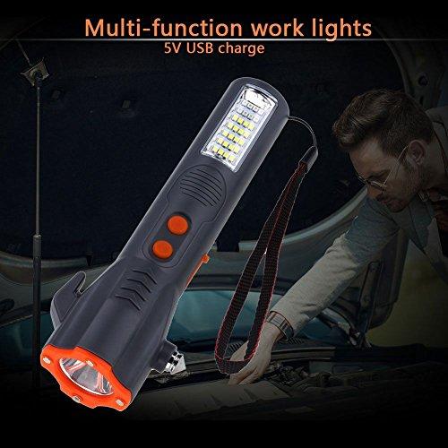 JVSISM USB 29 LED Notfall Taschenlampe Hammer Guertel Cutter Arbeit Sicherheitslicht Fuer Camping - Dado Cutter