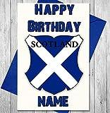 SHIELD Schottland Rugby Shirt Personalisierte Geburtstagskarte–Jeder Name und Alter Druck auf der Vorderseite