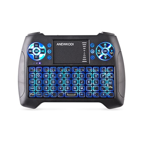 Mini Tastatur Touchpad, Smart TV Tastatur Fernbedienung, Wireless Backlit QWERTY Tastatur Layout, Plug and Play, Mini Tastatur Beleuchtet für Smart-TV, HTPC, IPTV, Android TV-Box, XBOX360, PS3, PC