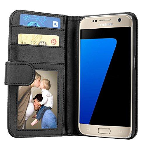 Samsung Galaxy S7 Hülle, EnGive Premium Wallet Ledertasche mit Standfunktion & Karte Halter für Samsung Galaxy S7 case cover - Schwarz