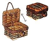Unbekannt Korb / Wäschekorb / Picknickkorb mit Deckel - Miniatur / Maßstab 1:12 - Lebensmittel Zubehör Küche Puppenstube / Puppenhaus - Picknick-Korb Weidenkorb Bastkor..