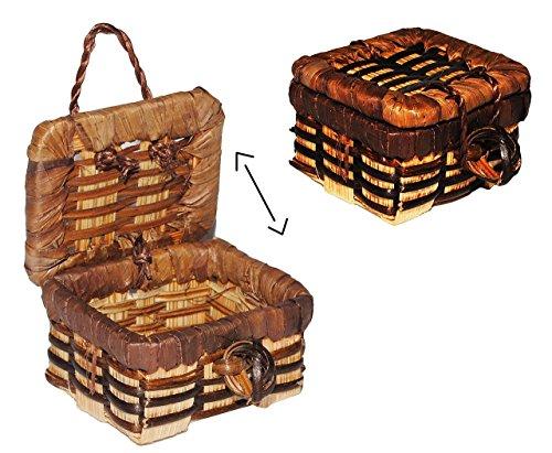 Korb / Wäschekorb / Picknickkorb mit Deckel - Miniatur / Maßstab 1:12 - Lebensmittel Zubehör Küche Puppenstube / Puppenhaus - Picknick-Korb Weidenkorb Bastkorb - Diorama / Geschenkset - Geschenk - Einkaufskorb