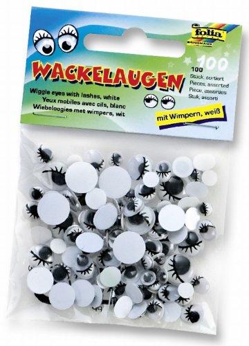 Folia 7511   - Ojos de plástico con pupilas móviles y pestañas (100 piezas) Importado de Alemania