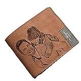 Portafoto personalizzato per uomo, perfetto regalo personalizzato per la festa del papà(Doppio lato marrone chiaro)