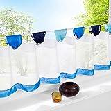 SIMPVALE Vorhänge aus Baumwolle Leinen Cafe Volants Küche Kurz Netzvorhänge, Blau, Höhe 45cm/Breite 120cm