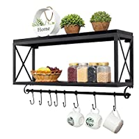 YUEDAI American Vintage Wrought Iron Wooden Kitchen Wall Mount Wall-mounted Bathroom Storage Rack Living Room Coffee Cup Holder (color: Black)