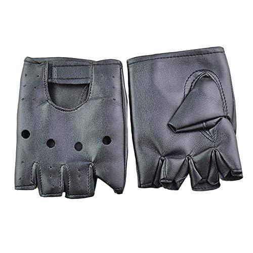 DINGWEN Handschuhe für Motorradfahrer, fingerlos, PU-Leder, Schwarz - Klassische, Ungefütterte Handschuhe