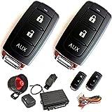 Akhan 100A18 - Sistema de alarma para cierre centralizado con 2 mandos transmisores, funciones Comfort, sensor de golpes y flash