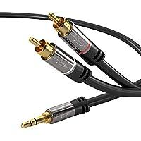 KabelDirekt - 3.5mm 2 Cinch Y Kabel - 2m - (3.5mm > 2 RCA, Klinke auf Cinch) - PRO Series