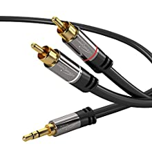 KabelDirekt 3m Aux/3.5mm to RCA Splitter Cable (Audio & Auxiliary Cable, 3.5mm Aux to 2 RCA, Hi-Fi, Stereo, Phone, iPod, Double Shielded) PRO Series