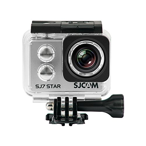 SJCam SJ7 Star - Cámara deportiva (4K, WiFi, 12 MP, pantalla táctil 2.0'', SuperView, sumergible 30 m) color plata
