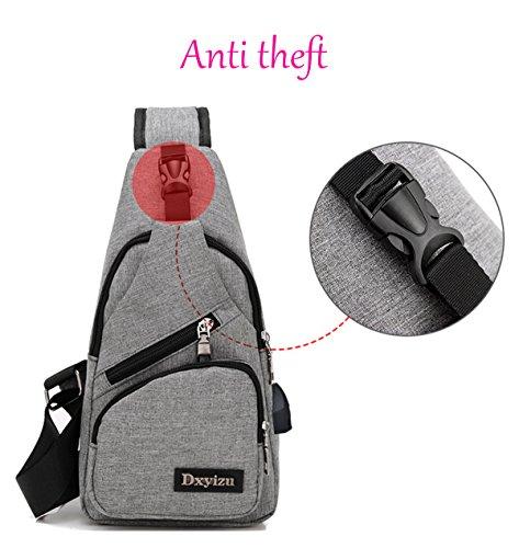 Super moderno unisex tracolla in nylon con porta USB multi tasche petto borsa Tracolla Cool, donna, Purple, L Black