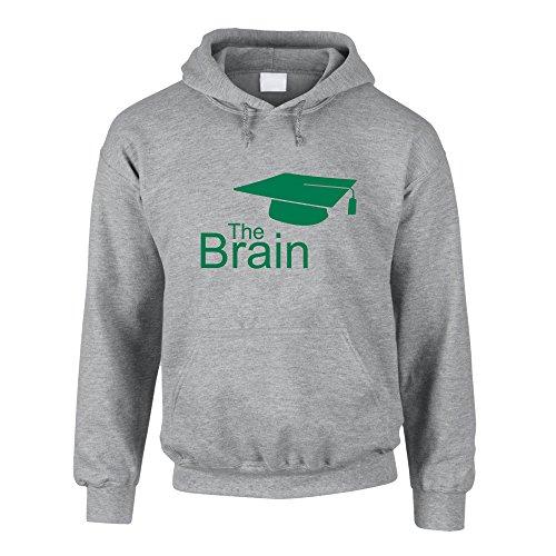 Hoodie The Brain Master- Bachelor Kapuzenpullover Sweater Study Uni, grau-grün, L
