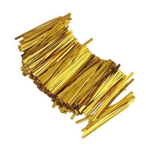 800pcs Metallschließe Link verwirbeltes für Verpackung de Sac-Süßigkeiten Lollipop Dekoration-Kekse (Gold)