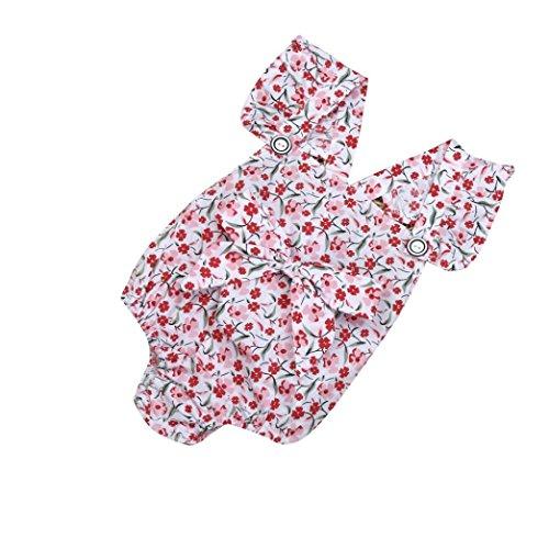 Bekleidung Longra Baby Sommer Strampler Neugeborenes Baby Mädchen Jumpsuit Overall Bodysuit Druck Ausstattungs Bowknot BroscheBaby Sommerkleidung (0 -12Monate) (50CM 3 Monate, White) (Spieler Stricken Hut)