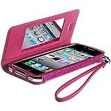 Celly GLAGEIP401 Agenda Glamme - Funda con tapa y correa para iPhone 4/4S, color fucsia con purpurina