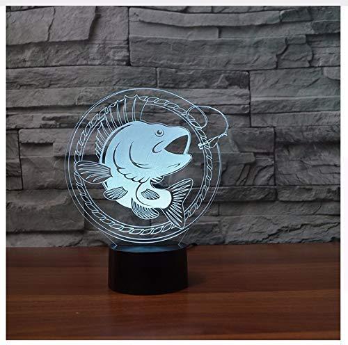 Geschenk 7 Farben Ändern 3D Led Touch Taste Fisch Tischlampe Usb Nachtlicht Erstaunliche Geschenke Für Kinder Angeln Schlafzimmer Dekor CD