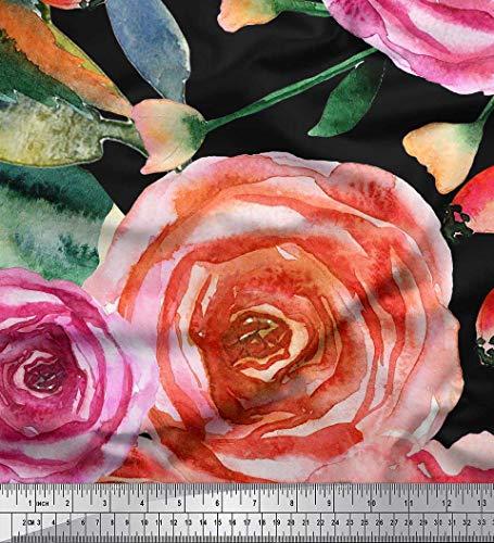 Soimoi Schwarz Seide Stoff Blätter & Rose Blume Stoff drucken Meter 42 Zoll breit (Schwarze Seide Rosen)