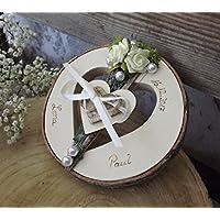 Ringkissen Ringhalter Herz rund Holzherz mittig mit Namen für Eheringe Hochzeit
