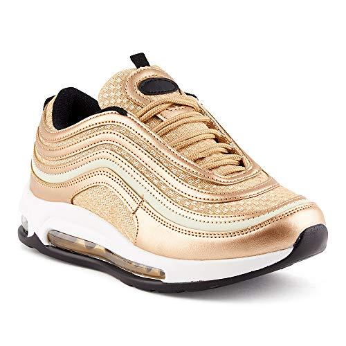 Fusskleidung Herren Damen Sportschuhe Sneaker Dämpfung Turnschuhe Jogging Gym Unisex Gold EU 38