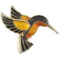 AILUOR Antico Tono d'oro Smalto Uccello Hummingbird Multicolore Austriaco Spilla Cristallo Gioielli Spilla