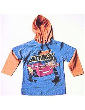 CARS Pixar, Longshirt Langarm-Shirt mit Kapuze in blau/orange, 100% Baumwolle, AM-KI-JU-Shirt+Kap.Cars.o/b