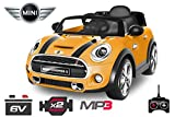 Lizenz Kinderauto Mini Hutch 2x30W MP3 Elektroauto Kinderfahrzeug Ferngesteuert Elektro Auo (Gelb)