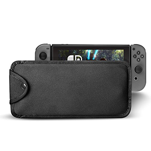 Price comparison product image Soft Carrying Sleeve Case for Nintendo Switch,Hapurs Travel Carrying Protective Case Cover Bag Pouch Sleeve for Nintendo Switch - Black