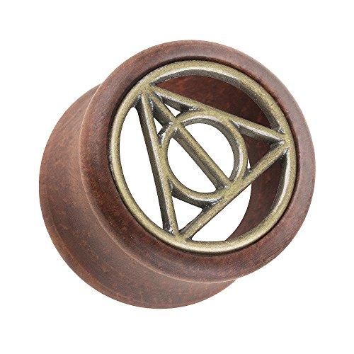 Piersando Ohr Plug Flesh Tunnel Piercing Ohrpiercing Organic Double Flared Holz mit Harry Potter Zeichen Inlay Braun Gold 12mm