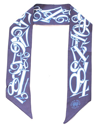 franck-muller-schmaler-seidenschal-90-x-6cm-in-blauer-seide-mit-uhrenziffern-scarve