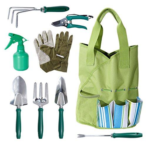 Wolfwise 9-teilige Gartenwerkzeug Set, Gartenarbeit Handwerkzeuge Set, mit Gartenhandschuhen und Werkzeugtasche, Garten Geschenke Gartenzubehör Edelstahl