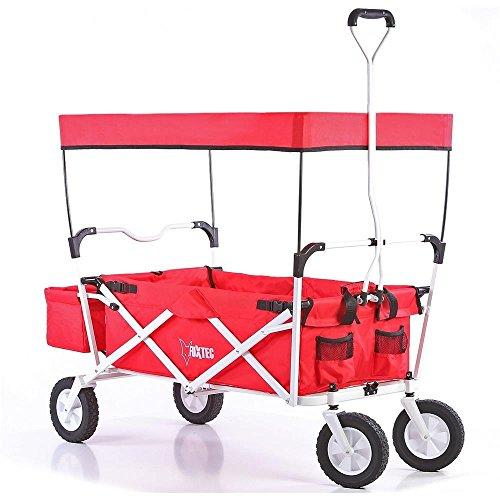 Preisvergleich Produktbild Bollerwagen klappbar JW-76A Handwagen Leiterwagen Strandwagen mit Sonnendach faltbar Transportwagen