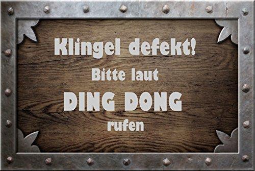 """"""" Klingel defekt - bitte laut ding dong rufen """" - Fussmatte bedruckt Türmatte Innenmatte Schmutzmatte lustige Motivfussmatte"""