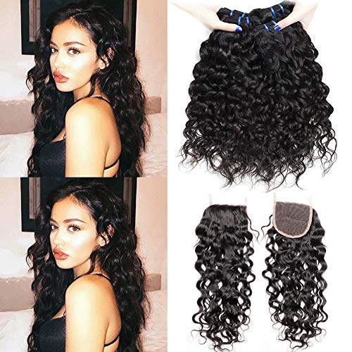9A Human Hair Bundles with Closure Curly Hair Waves Weave Hair Water Wave Human Hair Extensions Locken Echthaar Tressen Brasilianische Haare 12 14 16+10 Zoll Brazilian Hair 3 Bundles with Closure