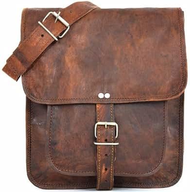 """Gusti Cuir nature """"Brady"""" sac en cuir sacoche vintage sac en bandoulière besace cabas en cuir sac porté épaule taille moyenne homme femme ado marron foncé M57b"""