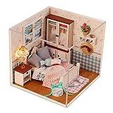 Momola Hölzern DIY Puppenhaus,Miniatur-Kit mit LED Licht Puppenmöbel,Prinzessin Schlafzimmer...