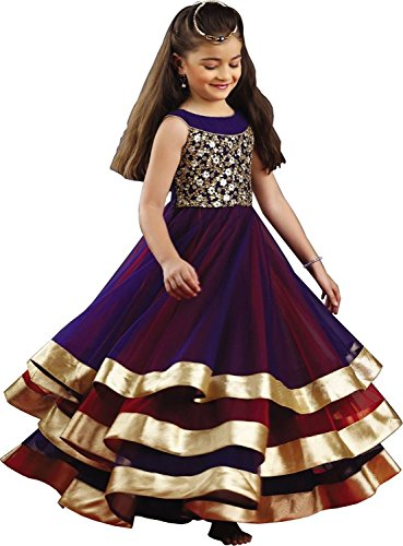 Gloxi Fashion Girl\'s Party Wear Semi Stitched Gown (Comfortable to 8-12 Year Girls)