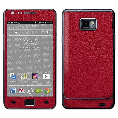 atFolix Skin kompatibel mit Samsung Galaxy S2 GT-i9100, Designfolie Sticker (FX-Leather-Red), Feine Leder-Struktur
