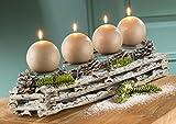Kerzenleuchter für 4 Kerzen natur/grau dekoriert (G21248) Adventsgesteck