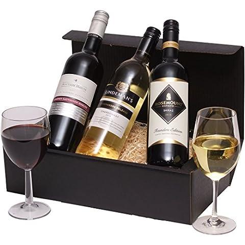 Gemischtes Trio Wein-Präsentkorb - Klassisches australisches Wein-Geschenk - Drei Weine 2 x Rotwein, 1 x Weißwein